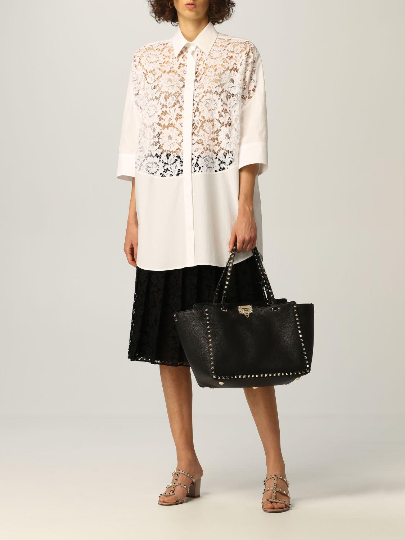Camicia Valentino: Camicia Valentino in popeline di cotone e pizzo bianco 2