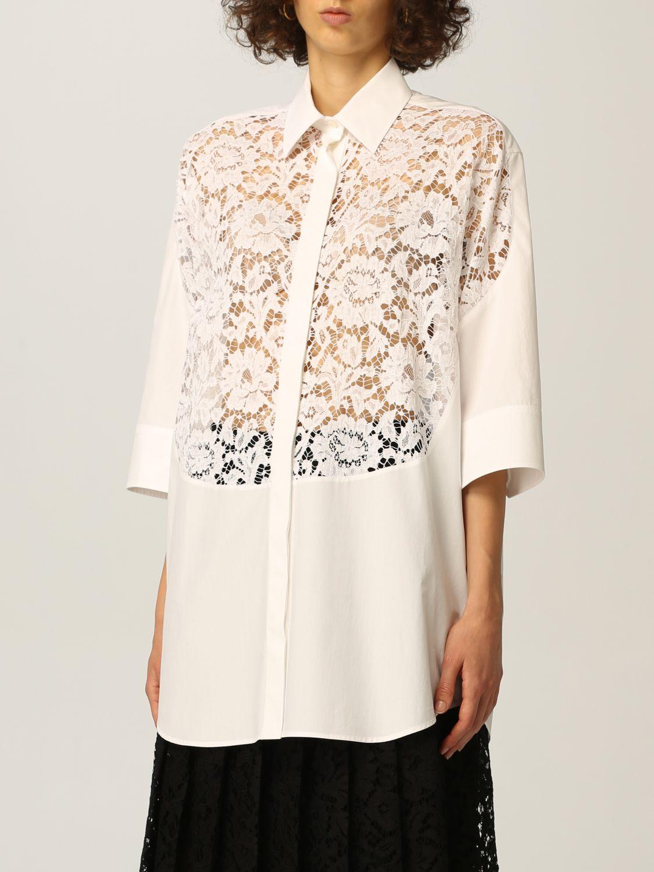 Camicia Valentino: Camicia Valentino in popeline di cotone e pizzo bianco 4
