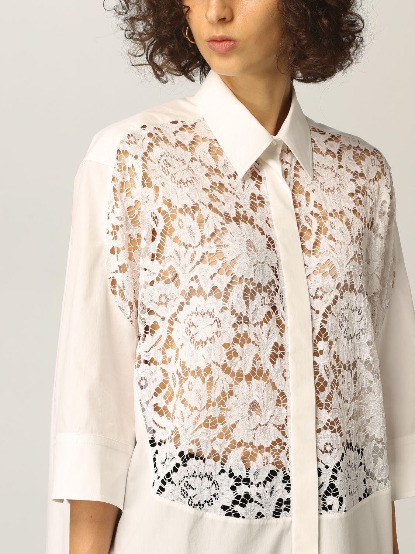 Camicia Valentino: Camicia Valentino in popeline di cotone e pizzo bianco 5