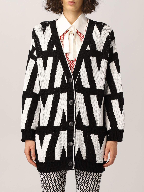 Cardigan Valentino: Cardigan Valentino in cotone optical nero 1
