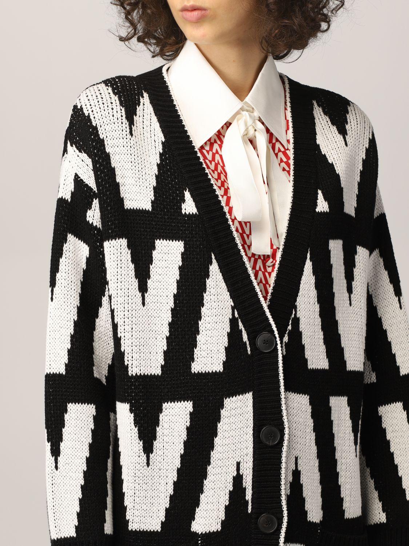 Cardigan Valentino: Cardigan Valentino in cotone optical nero 5