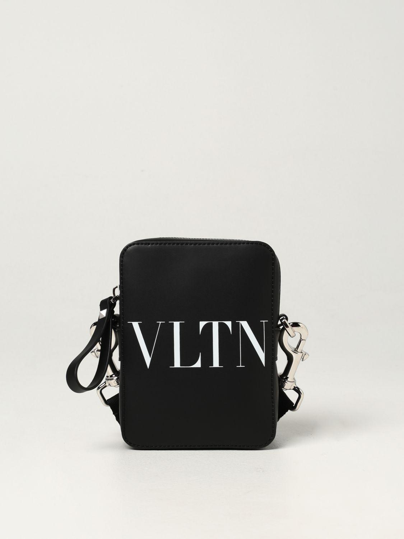 Borsa a tracolla Valentino Garavani: Borsa Valentino Garavani in pelle con logo VLTN nero 1