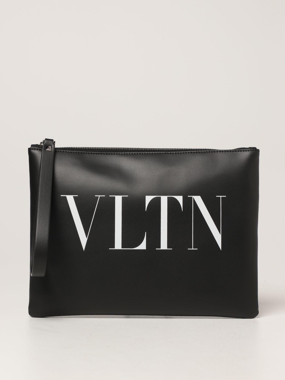 Portadocumenti Valentino Garavani: Pochette Valentino Garavani in pelle con logo VLTN nero 1