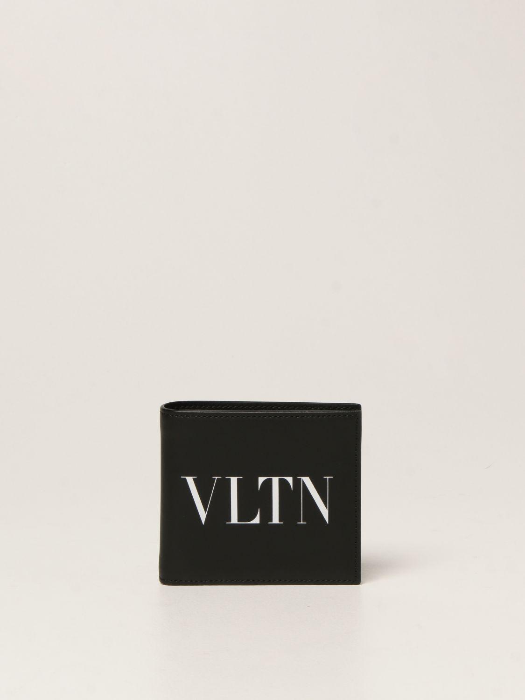 Portafoglio Valentino Garavani: Portafoglio Valentino Garavani in pelle con logo VLTN nero 1