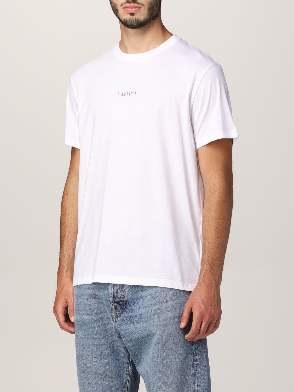 T-shirt Valentino: T-shirt Valentino in cotone con logo bianco 4