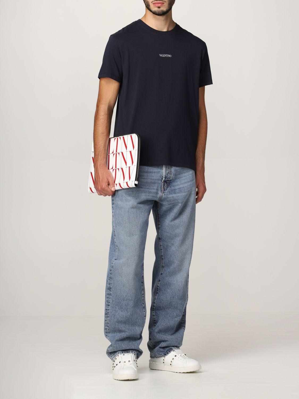 T-shirt Valentino: T-shirt Valentino in cotone con logo blue navy 2