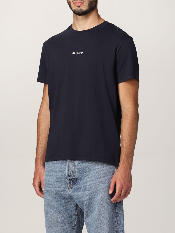 T-shirt Valentino: T-shirt Valentino in cotone con logo blue navy 4