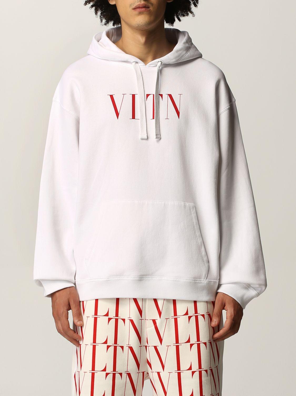 Felpa Valentino: Felpa Valentino in cotone con logo VLTN bianco 1