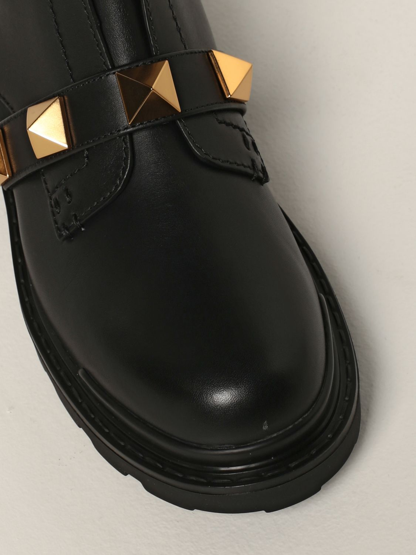 Stivaletti Valentino Garavani: Combat Boot Roman Studs Valentino Garavani in pelle con borchie nero 4