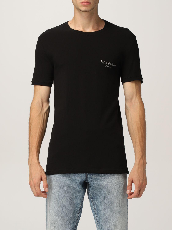 T-shirt Balmain: Mezza manica girocollo con logo metal nero 3