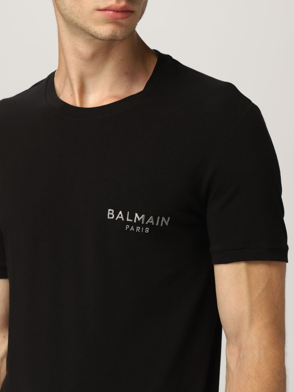 T-shirt Balmain: Mezza manica girocollo con logo metal nero 4