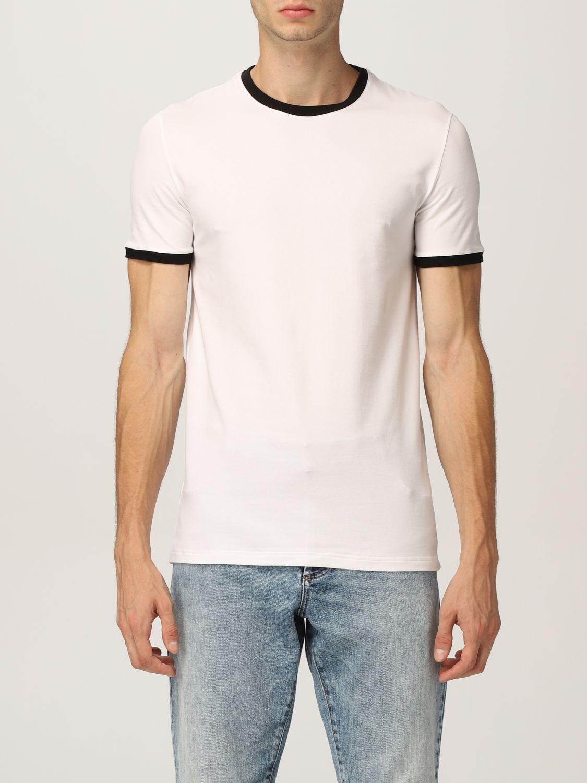 Intimo Balmain: Mezza manica girocollo con logo e contrasti bianco 1