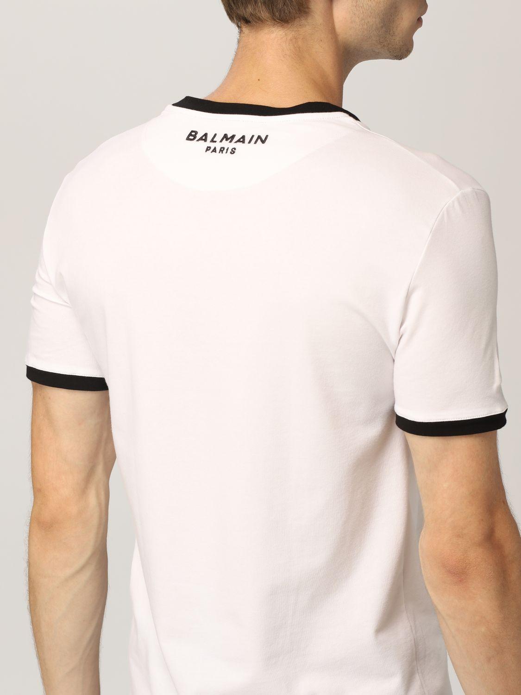 Intimo Balmain: Mezza manica girocollo con logo e contrasti bianco 2