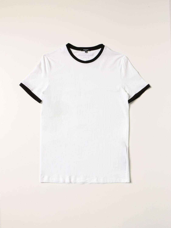 Intimo Balmain: Mezza manica girocollo con logo e contrasti bianco 3