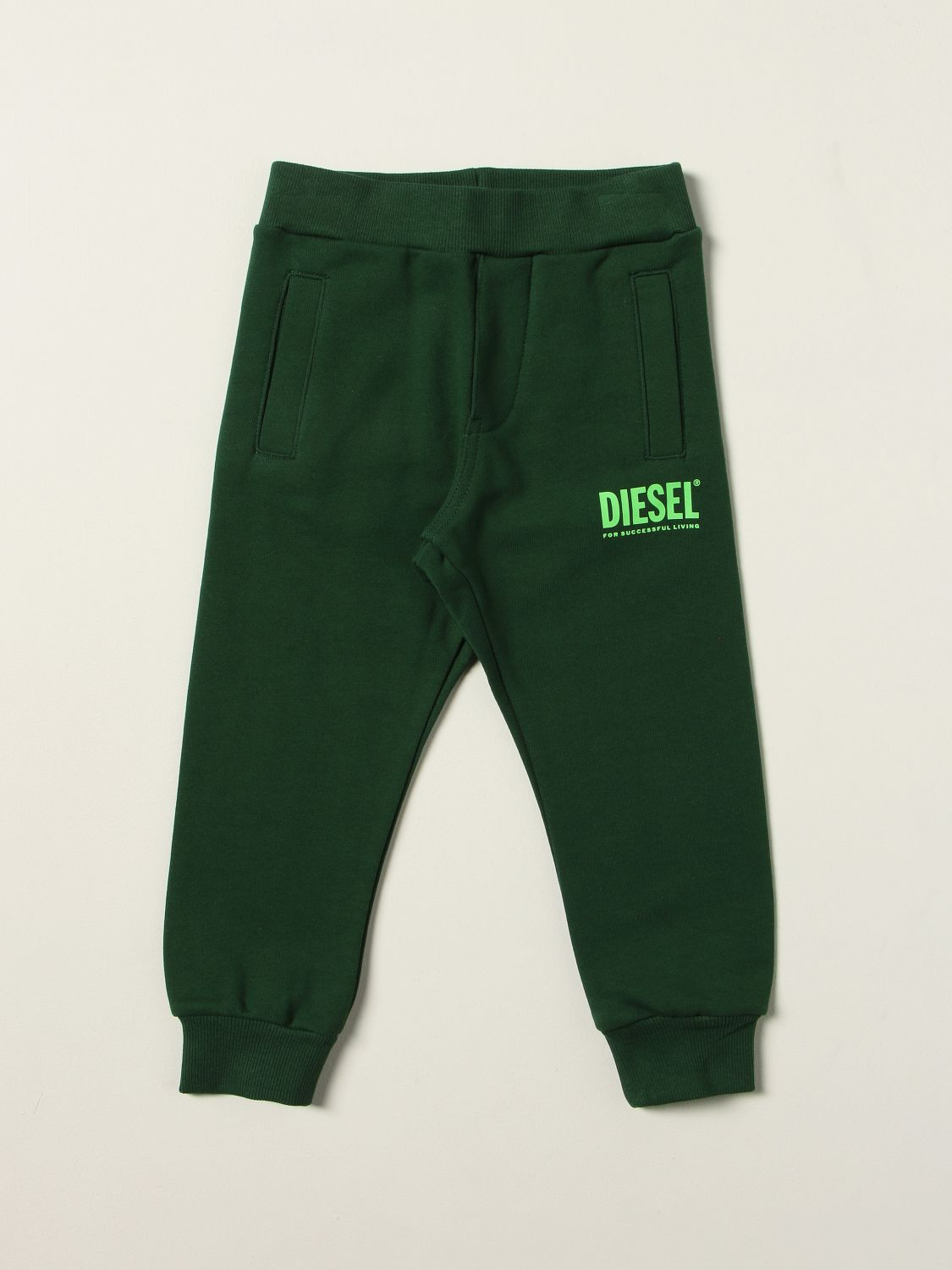 Trousers Diesel: Diesel jogging trousers in cotton with logo green 1