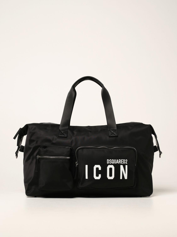 Valigia Dsquared2: Borsone Dsquared2 in nylon con logo Icon nero 1