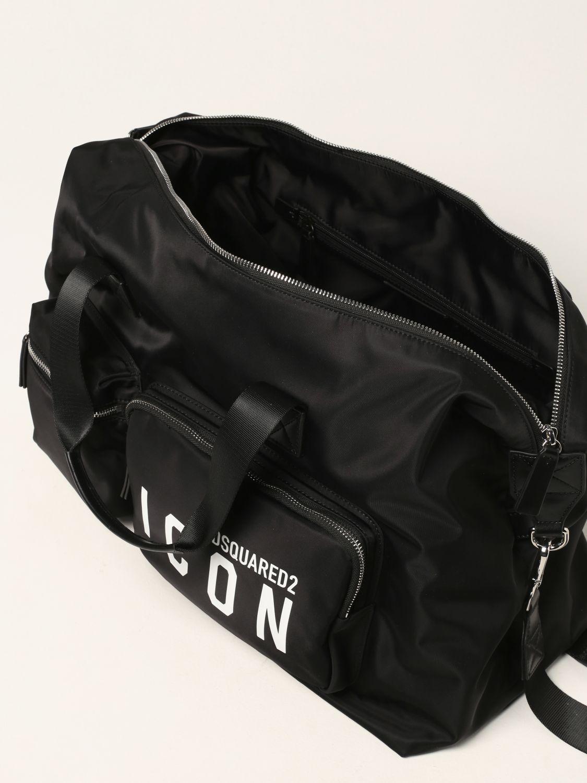Valigia Dsquared2: Borsone Dsquared2 in nylon con logo Icon nero 5