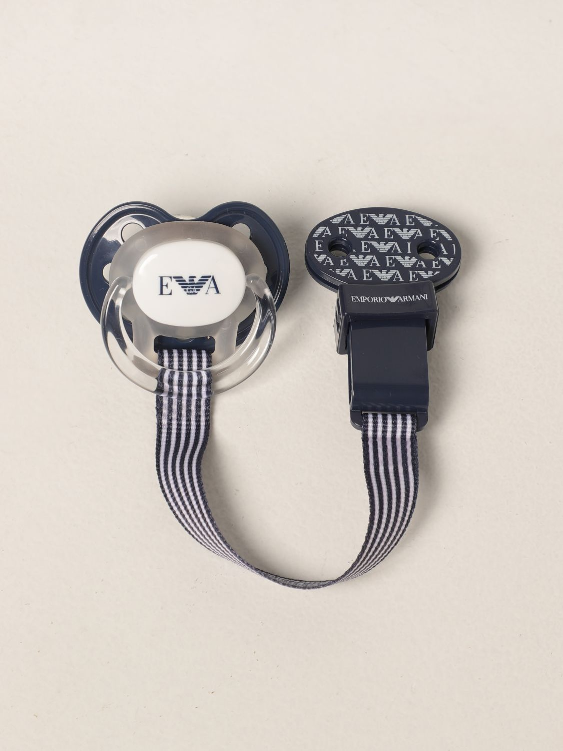 Pacifier Emporio Armani: Emporio Armani pacifier with logo blue 1