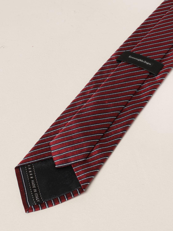 Cravatta Ermenegildo Zegna: Cravatta Ermenegildo Zegna in seta a righe rosso 2