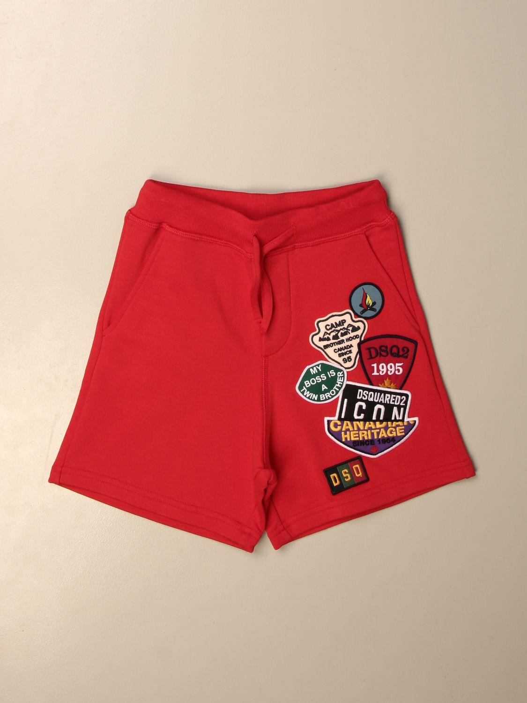 Pantaloncino Dsquared2 Junior: Bermuda jogging Dsquared2 Junior con patches rosso 1