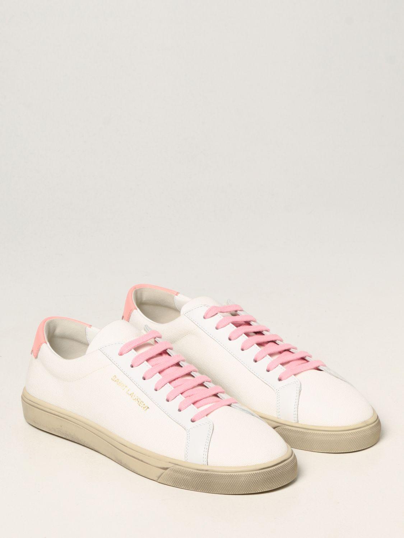 Sneakers Saint Laurent: Sneakers Andy Saint Laurent in tela bianco 2