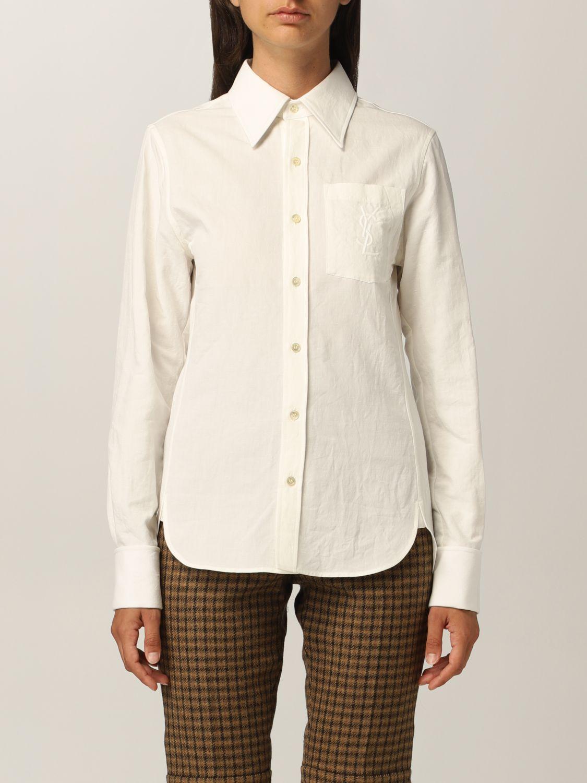 Camicia Saint Laurent: Camicia Saint Laurent in cotone e lino bianco 1