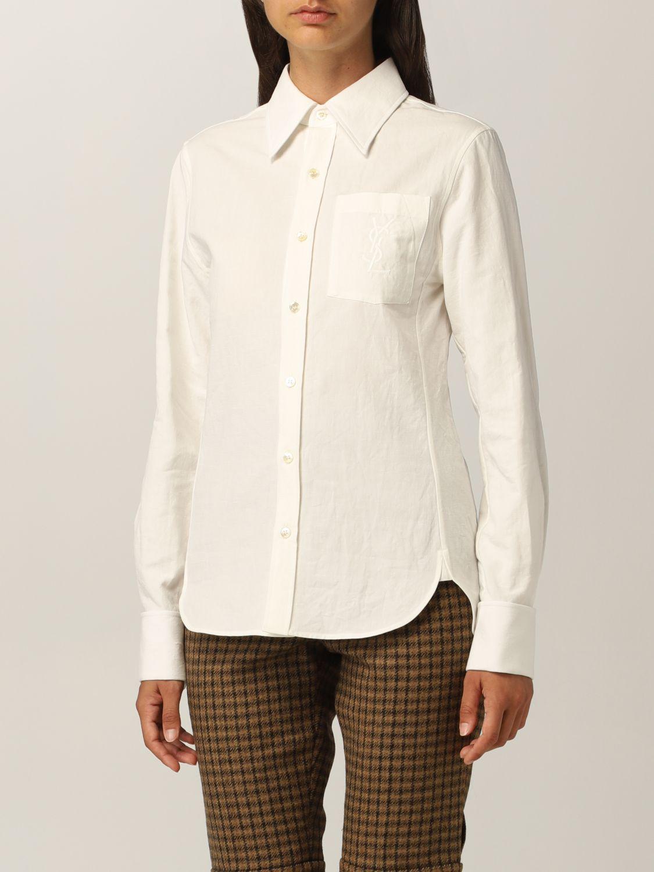 Camicia Saint Laurent: Camicia Saint Laurent in cotone e lino bianco 4