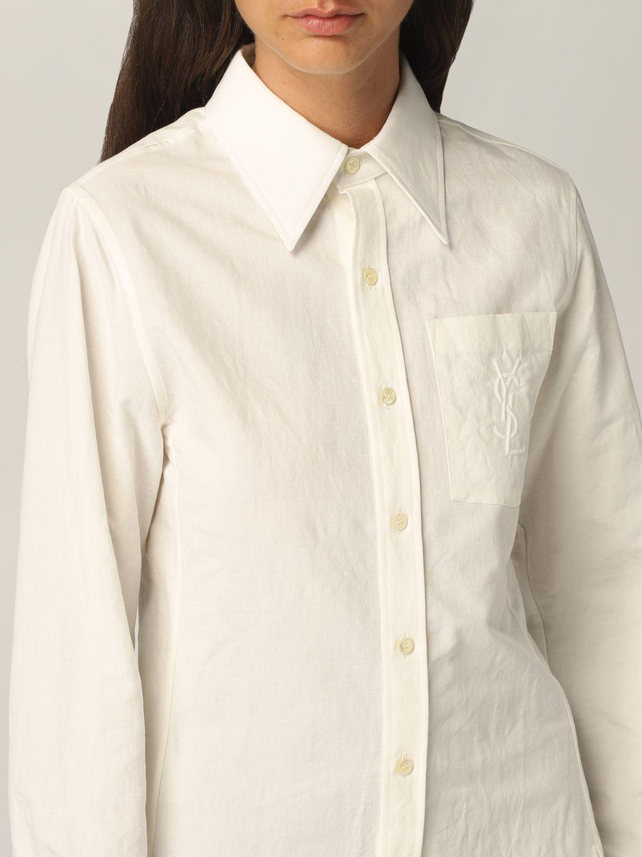 Camicia Saint Laurent: Camicia Saint Laurent in cotone e lino bianco 5