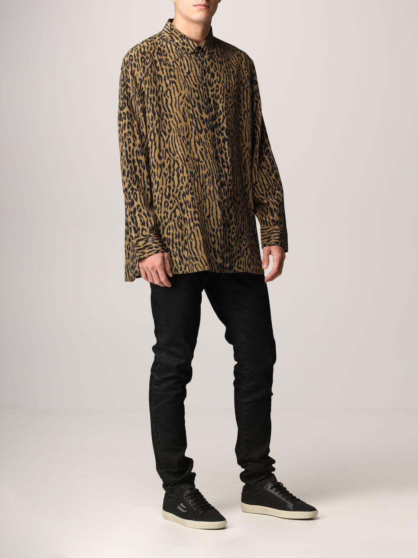 Camicia Saint Laurent: Camicia Saint Laurent in crêpe animalier beige 2