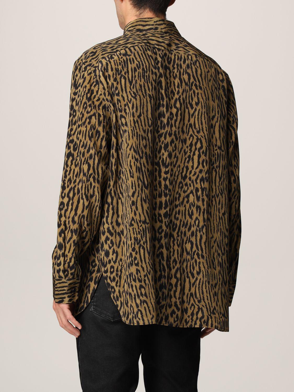 Camicia Saint Laurent: Camicia Saint Laurent in crêpe animalier beige 3