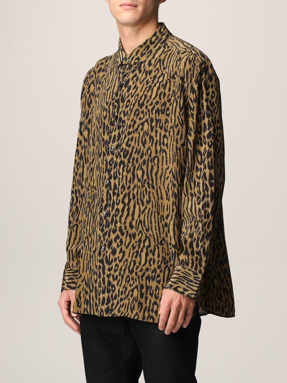 Camicia Saint Laurent: Camicia Saint Laurent in crêpe animalier beige 4