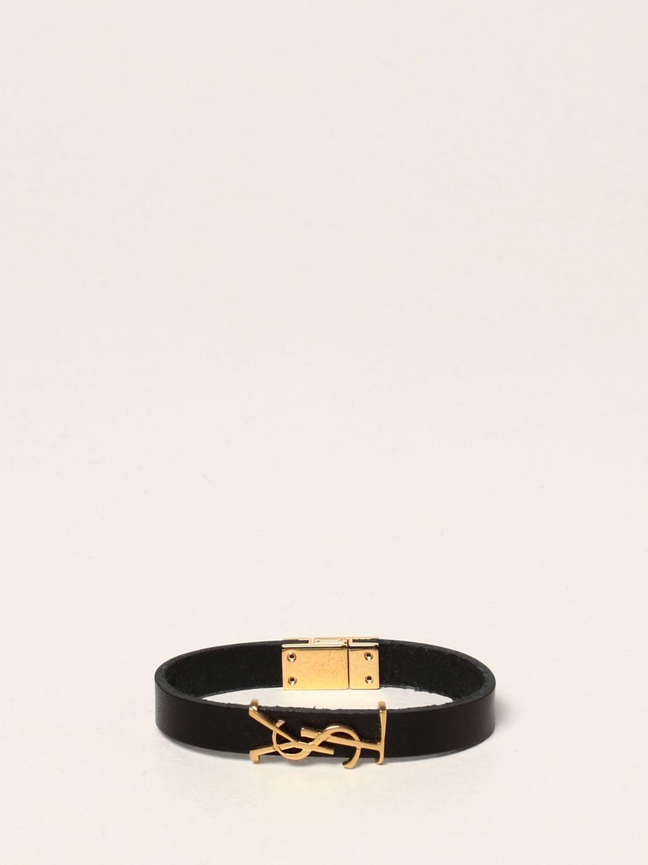 Gioielli Saint Laurent: Bracciale Saint Laurent in pelle con monogramma YSL nero 1