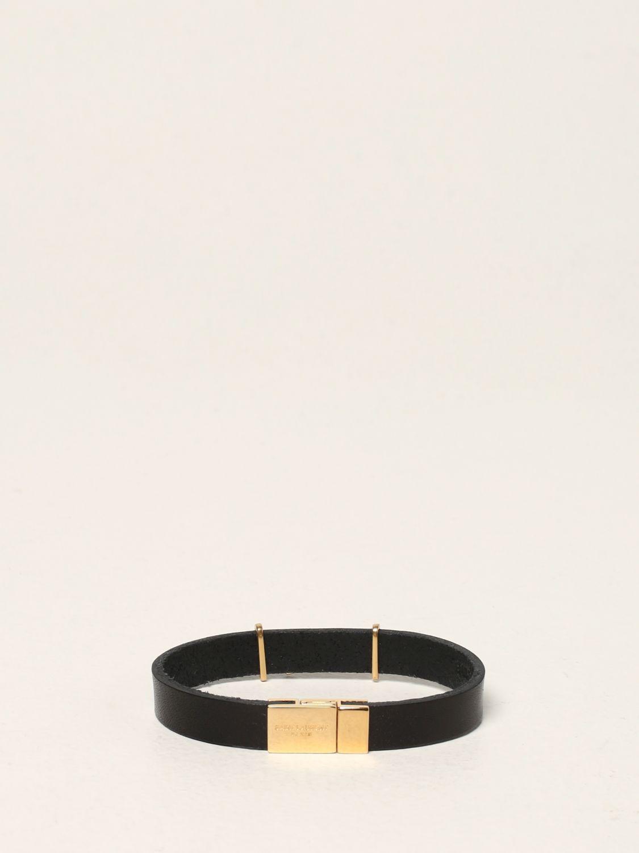 Gioielli Saint Laurent: Bracciale Saint Laurent in pelle con monogramma YSL nero 2