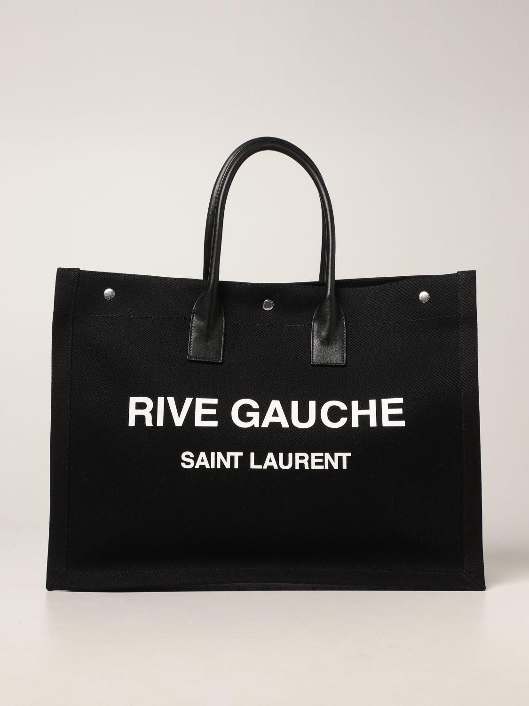 Borsa Saint Laurent: Borsa Tote Rive Gauche Saint Laurent in canvas nero 1
