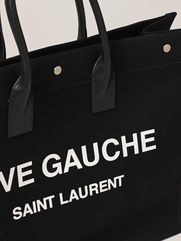Borsa Saint Laurent: Borsa Tote Rive Gauche Saint Laurent in canvas nero 4
