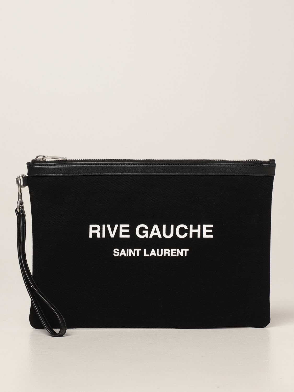 Portadocumenti Saint Laurent: Pochette Rive Gauche Saint Laurent in canvas nero 1