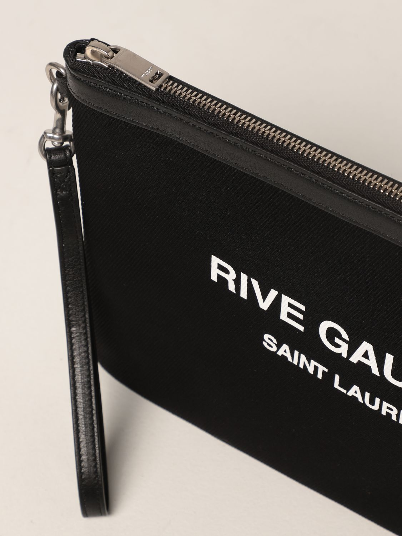 Portadocumenti Saint Laurent: Pochette Rive Gauche Saint Laurent in canvas nero 4