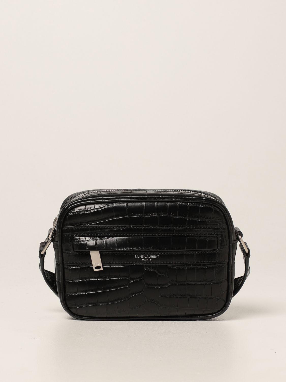 Borsa a tracolla Saint Laurent: Borsa camera bag Camp Saint Laurent in pelle con stampa cocco nero 1