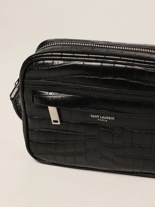 Borsa a tracolla Saint Laurent: Borsa camera bag Camp Saint Laurent in pelle con stampa cocco nero 3