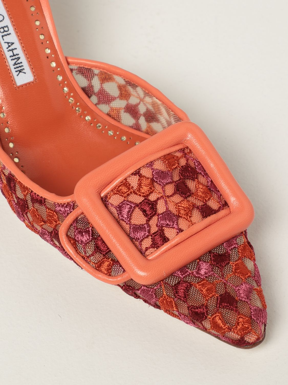 Scarpe con tacco Manolo Blahnik: Mule Maysale Manolo Blahnik in pizzo arancione 4
