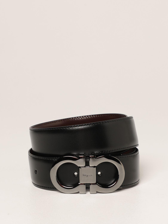 Cintura Salvatore Ferragamo: Cintura Gancini Salvatore Ferragamo reversibile in pelle nero 1