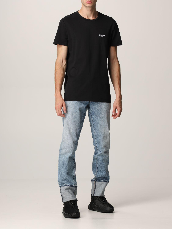 T-shirt Balmain: T-shirt Balmain in cotone con logo nero 2