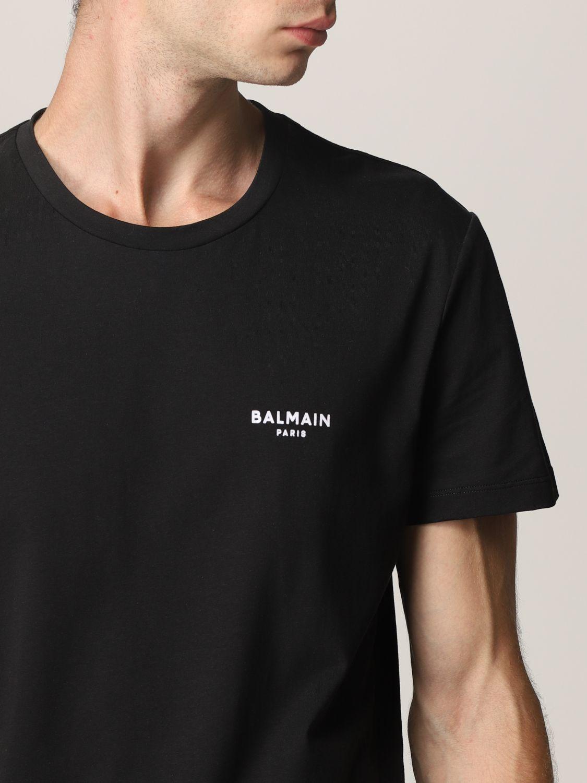 T-shirt Balmain: T-shirt Balmain in cotone con logo nero 5