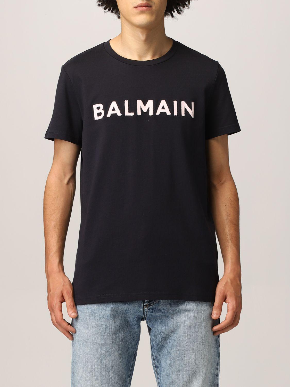 T-shirt Balmain: Balmain cotton t-shirt with logo navy 1