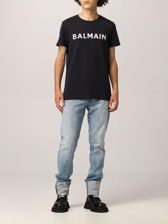 T-shirt Balmain: Balmain cotton t-shirt with logo navy 2