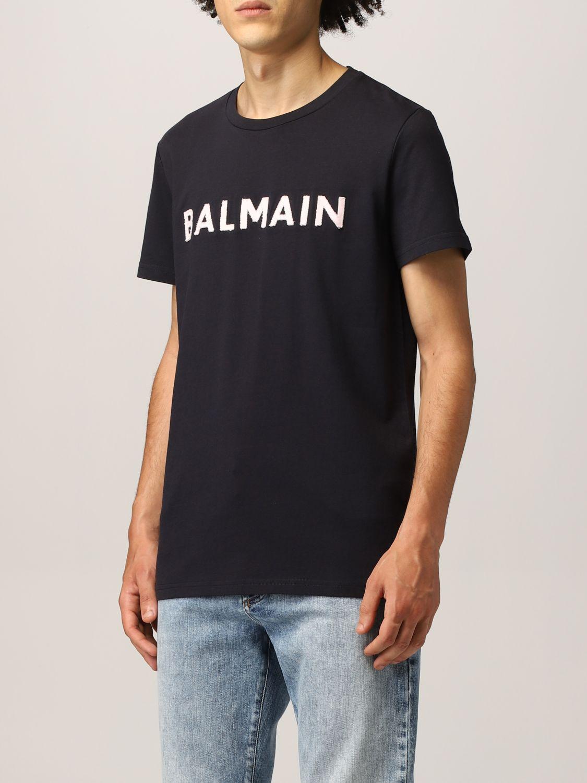 T-shirt Balmain: Balmain cotton t-shirt with logo navy 4