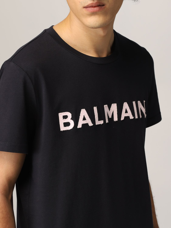 T-shirt Balmain: Balmain cotton t-shirt with logo navy 5