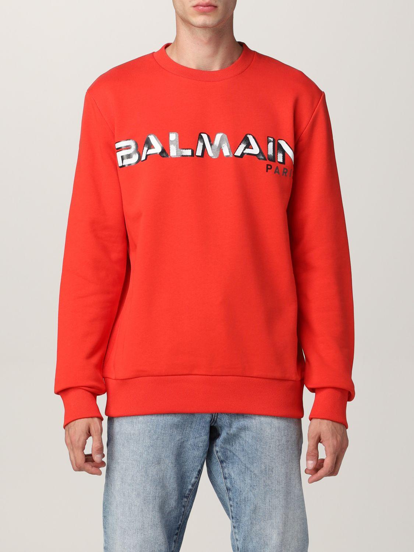 Sweatshirt Balmain: Balmain cotton sweatshirt with logo red 1