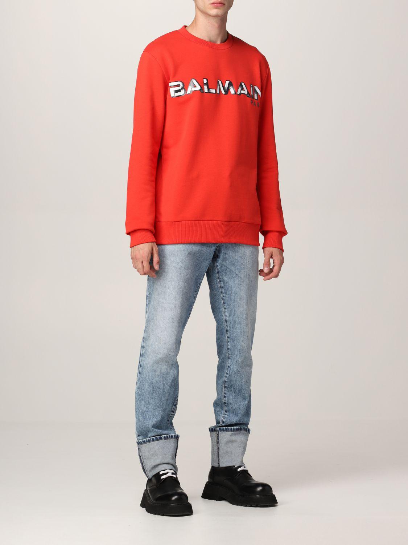 Sweatshirt Balmain: Balmain cotton sweatshirt with logo red 2