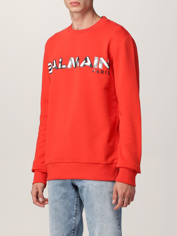 Sweatshirt Balmain: Balmain cotton sweatshirt with logo red 4